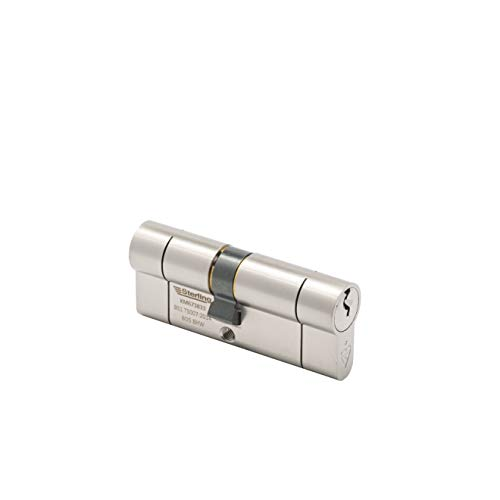 Sterling (95mm) TS007 BS1 1 Star Police Approved Secured by Design Euro Door Cylinder, Satin Nickel, 40mm x 55mm Total