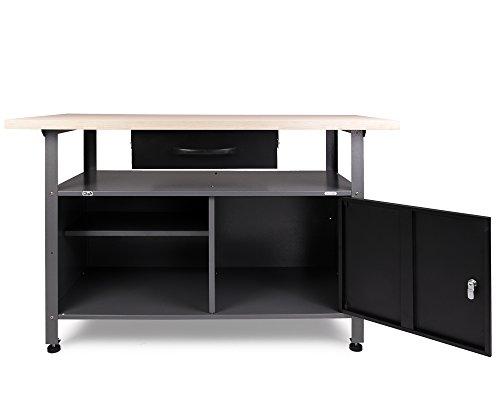 Ondis24 stabile 120 cm breite Montagewerkbank Werkstatteinrichtung Werkstatt Werkbank Werktisch mit abschließbarer Tür, stabiles Modell mit höhenverstellbaren Füßen - 2