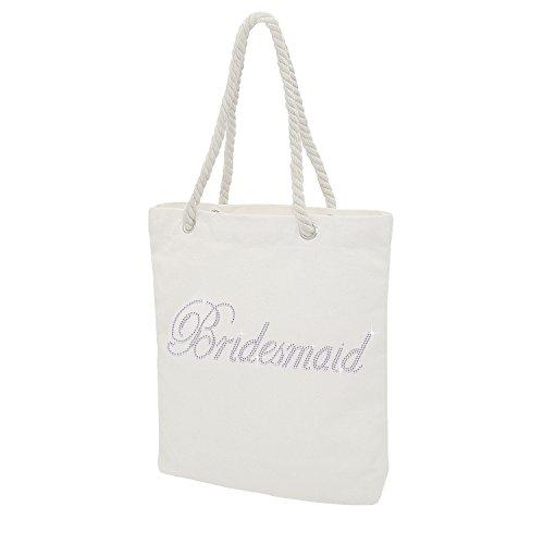 Elehere Custom Tote Bag Crystal Cotton Bags Rhinestone Bridal Shower Bachelorette Party Gift (Crystal - Bridesmaid)