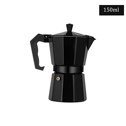 Aluminum Mocha Coffee Pot Italian Coffee Maker Portable Coffee Kettle Kitchen Tools Stovetop Percolator Espresso Pot (Color : Black 300ml)
