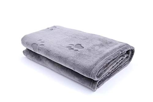 YINXUE 2 Pack Soft Pet Flannel Blanket with Cute 3D Paw Design, 30' x 40' Warm Dog Cat Sleep Mat Bed...