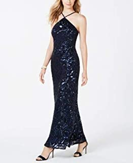 NIGHTWAY Womens Navy Sequined Mesh Gown Jewel Neck Full-Length Evening Dress US Size: 10
