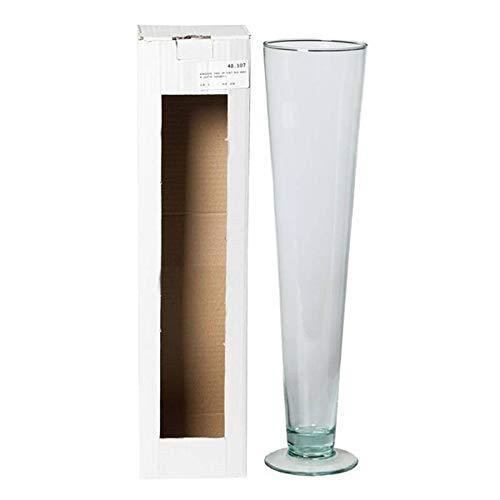 INNA-Glas Jarrón Decorativo Grande WANJA con pie, Embudo/Redondo, Transparente, 50cm, Ø12cm - Jarrón de Suelo - Florero de Piso