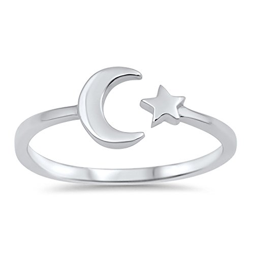 Oxford Diamond Co Sterling Silver Celestial Star & Moon Open Ring Sizes 2-10 Colors Available