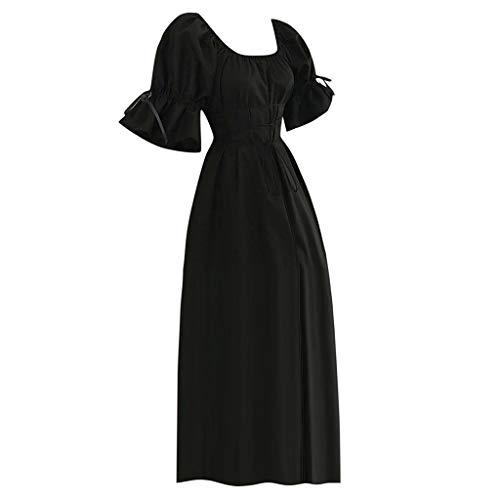 miqiqism Womens Medieval Victorian Costume Boho Off Shoulder Cap Sleeve Lace-up Waist Renaissance Party Maxi Dress Chemise (XL, Black)