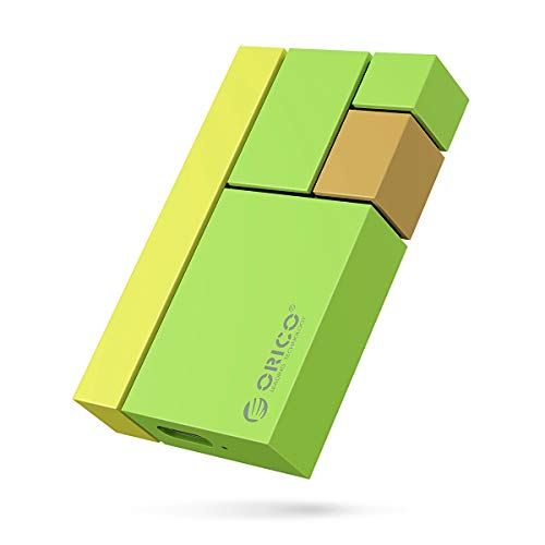 ORICO SSD 500GB Esterno Portatile Ultra-mini Lettura/scrittura fino a 540MB/s Hard Disk SSD portatile Tipo-C USB3.1 GEN2 per Vlog Blogger,Fotografi,Appassionati di Giochi e Altro(CN300 Verde)