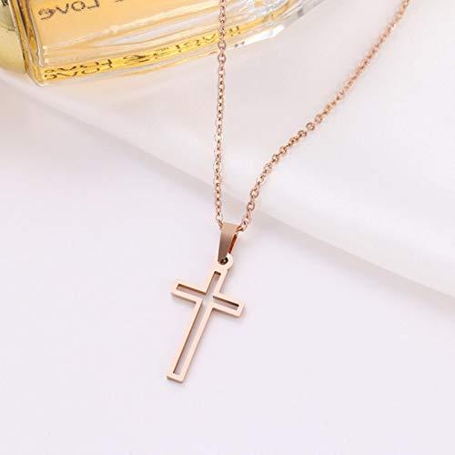 Collar de Acero Inoxidable para Mujer, Collar Cruzado de Cadena de Color Dorado y Rosa Dorado para Amantes, joyería Cruzada pequeña