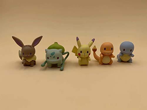 Set di 5 pupazzetti Pokemon tascabile, simpatici animaletti animati, modellini per decorazione di auto, ufficio, torta.