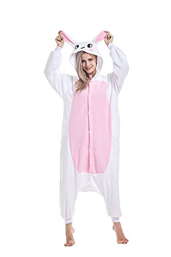 ABYED Adulte Unisexe Anime Animal Costume Cosplay Combinaison Pyjama Outfit Nuit Vetements Onesie Fleece Halloween Costume Soiree de Deguisements, Lapin, XL(175-181CM)