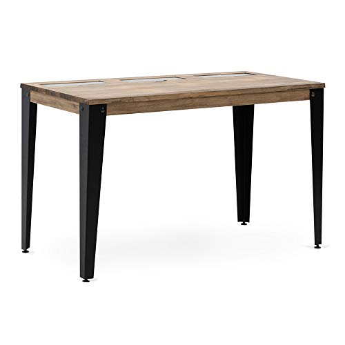 Mesa despacho Lunds con 3 Compartimentos 120x60x75cm Negro Efecto Vintage Box Furniture