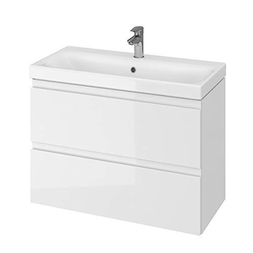 VBChome Badmöbel Weiß 80 cm Slim Waschbecken mit Unterschrank Waschtisch 2-Schubladen Moduo