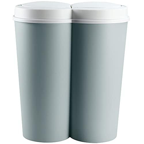 Deuba Mülleimer 50 L Duo 2fach Trennsystem 2x25 L Druckknopf-Automatik Küche Abfalleimer Müllbehälter Mülltrennung Grün