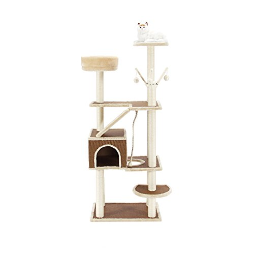 YQQ Cat Play Tree and Tower Escalade Cadre Qualité Plaque Sisal Rope Light Brown + Blanc 60 * 42 * 152cm