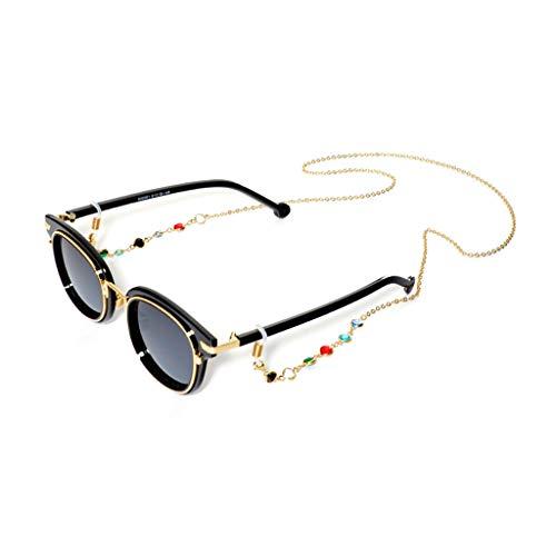 Brillenband, 12shage Kristall Brillenketten für Lesebrillen Perlen Brillen Cord Damen Lesebrille Brille Kette Sonnebrillen Band Glaskette Hals Cord (Gold)