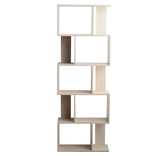 Rebecca Mobili Libreria Legno MDF, Scaffale da Terra, 5 Ripiani Abete Sbiancato, Design Contemporaneo, Ufficio Sala - Misure: 169 x 60 x 24 cm - Art.RE6402