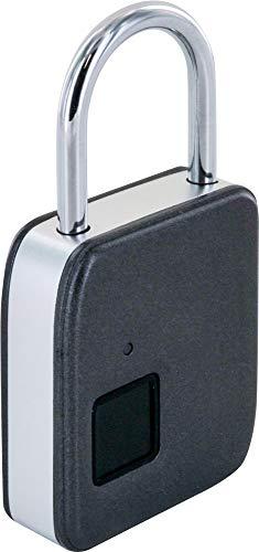 SCHWAIGER -715958- Cerradura de huella dactilar sin llave   Cerradura de taquilla a prueba de agua IP65   incluye llave de emergencia   Candado inteligente con carga USB