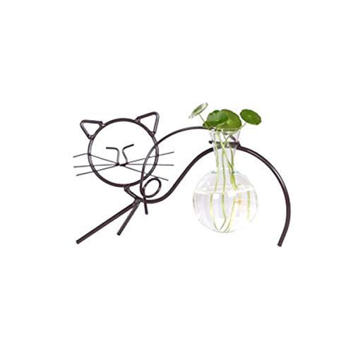 DEDC Kitty-Glas-Blumenzwiebel-Vase mit Metallständer, moderne süße Katze, klares Terrarium, kreativ Blumentopf für Hydrokultur, Wasserpflanzung, Zuhause, Büro, Garten, Dekoration (dehnbare Katze)