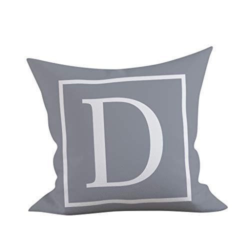Zimuuy Taie d'oreiller,45x45 cm Kinder Zimmer Dekoration Slip Kissen Englisch taies d'oreiller en Alphabet Matériel:Polyester(Taille Unique,D)