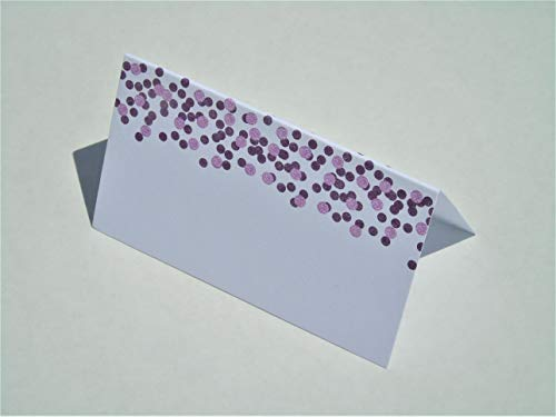 Place Cards - Purple Confetti Tent Table Place Cards for Wedding Holiday Easter Catering Buffet Food Sign Paper Name Escort Card Folded (50-Cards)