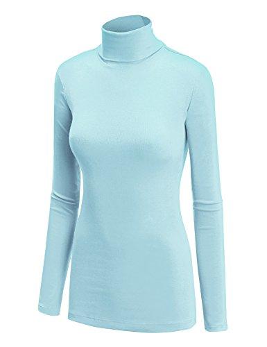WT950 Womens Long Sleeve Turtleneck Top Pullover Sweater XXXL Aqua