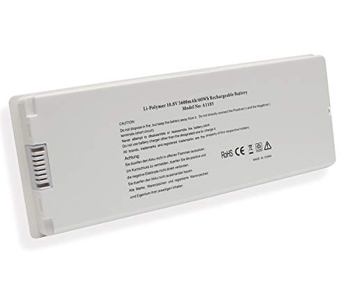 Laptop Replacement Battery Pack for Apple 13' Macbook A1185 A1181 MA561FE/A MA561G/A MA561J/A (Mid. / Late 2006, Mid. / Late 2007, Early/Late 2008, Early/Mid. 2009) 10.8V 5600mAh]