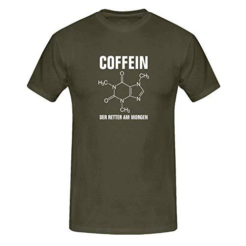 T-Shirt Coffein Retter am Morgen Kaffee Spruch Humor Fun 13 Farben Herren XS-5XL Koffein Junkie Energiedrink Geschenk Idee, Farbe:Khaki - Logo Weiss, Größe:5XL