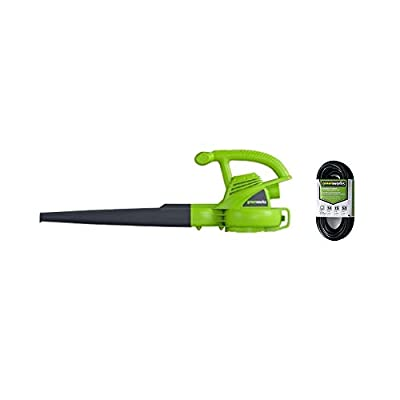 Greenworks 7 Amp Single Speed Electric Leaf Blower, 160 MPH, with Extension Cord 24012