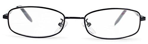 エニックス 老眼鏡 メンズ +1.0 度数 メタルフレーム スクエア ブラック ERI-03-10