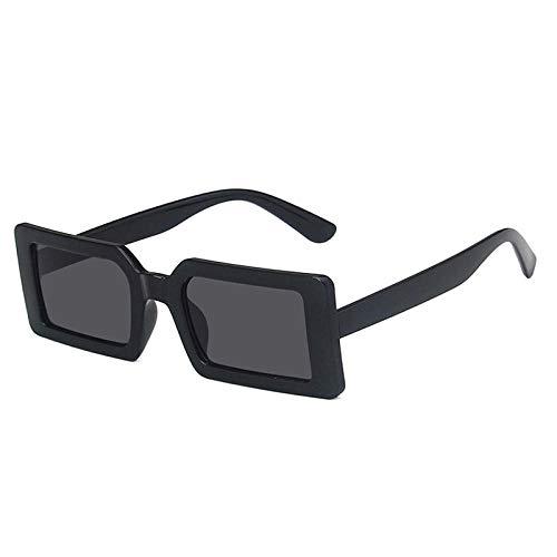 DLSM Moda Fluorescente Verde rectángulo Mujer Gafas de Sol Claro océano Lente Gafas Vintage Hombres Gafas de Sol UV400 Geeignet Für Straßenaufnahmen im Freien-Gris Negro