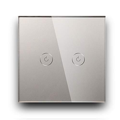 BSEED Interruptor de Sensor Táctil WIFI Inteligente (Se Requiere Línea Neutra) Alexa y Google Home Work con Tuya Para Interruptores de Luz de Pared con Placa de Cristal Negro 2 Gang 1 Vía Gris