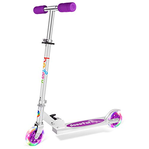 BELEEV Roller für Kinder 2 Räder Klappbar Kick Scooter für Mädchen Jungen, 3 Höhenverstellbare Kinderscooter, PU LED-Räder Kinderroller(Violett)
