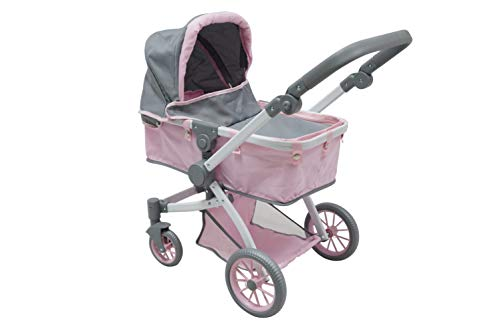 KOOKAMUNGA KIDS 3 in 1 Doll City Pram, Stroller and Bassinet Baby Carrier - Deluxe and Modern Style for your Little Doll Enthusiast - Pink / Grey