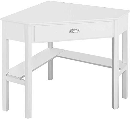 LDAILY Corner Desk, Compact Writing Table with Drawer and Shelves, Space Saving Study Modern Workstation, Laptop Corner Computer Desk for Home, Office, White