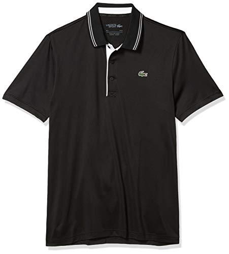 Lacoste Men's Sport Super Dry Short Sleeve Jersey Polo Shirt, Black/Blackwhite, X-Large