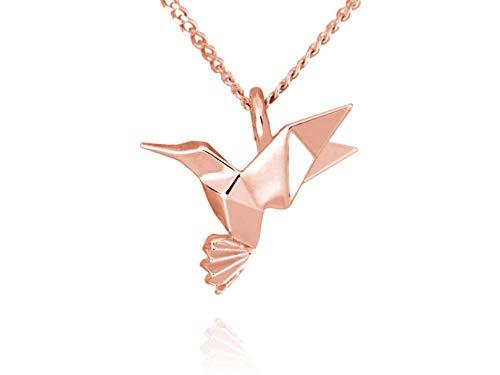 Dije Colibrí de Origami En Plata con Chapa Oro Rosa, Incluye Cadena