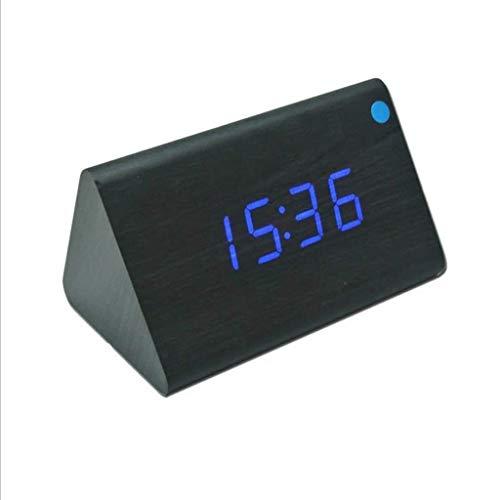 Inicio Monitoreo del Tiempo Relojes LED Casa de Madera Multi-función Reloj de Temperatura Reloj de Voz Reloj de Alarma Triángulo Electrónico de Monitoreo del Tiempo Relojes Estaciones Meteorológicas