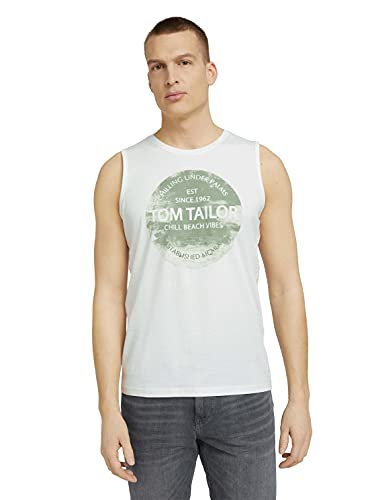 Tom Tailor 1025981 Print Tanktop, 10332-Off White, L para Hombre