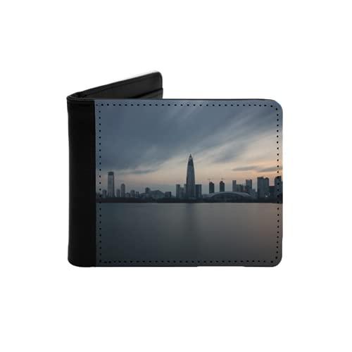 Cartera Delgada de Cuero para Hombre,Rascacielos en la bahía de Shenzhen al Atardecer,Cartera Minimalista con Bolsillo Frontal Plegable
