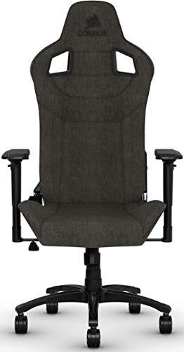 Corsair T3 Rush, Polyester Stoff Gaming Büro Stuhl (Atmungsaktivem Weichen Stoff, Gepolsterten Nackenkissen, Lendenstütze aus Memory-Schaumstoff, 4D-Armlehnen, Leich Montieren) schwarz