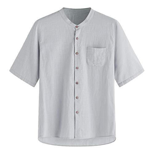 YLSMN Baumwolle Leinen Freizeithemden Sommer Feste Hemden Männer Kurzarm Hawaii Hemd Atmungsaktiv Übergrößen Kleidung CL