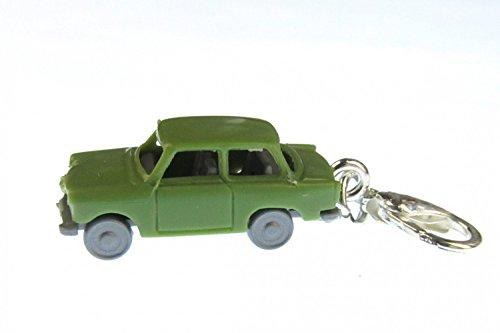 Miniblings Trabbi Auto DDR Charm Trabant Trabi grün - Handmade Modeschmuck I Kettenanhänger versilbert - Bettelanhänger Bettelarmband - Anhänger für Armband