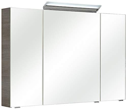 Pelipal - FILO/ORIA III - 105 cm Spiegelschrank - Badmöbel in Graphit Struktur quer, 3-türig, Türdämpfung, 6 Einlegeböden, LED Aufbauleuchte, EEK: A+ (Spektrum A++ - A)