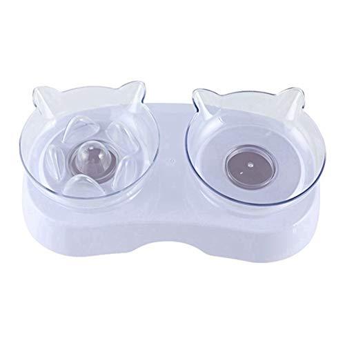 Pet bowl WERTYTR Einstellbare Haustier-Zufuhr Hund Doppel Bowl Cat-Schüssel-Wasser Füttern Hund Geschirr Feeders Geschirr mit Schutz Cervical 7.28 (Color : White, Size : ONE Size)