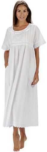 The 1 for U 100% Baumwolle Damen Nachthemd mit Taschen Viktorianisches Stil BN1 - Weiß Kurze Ärmel - Nicole, S