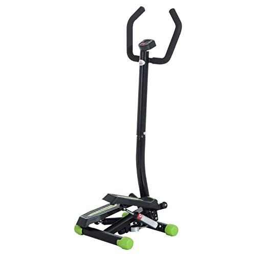 homcom Stepper Professionale Fitness Multifunzionale con Manubrio e Corde in Acciaio, 40 x 48 x 118cm, Nero