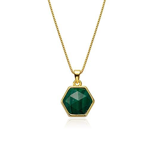 SelaVogue Collar para mujer chapado en oro de 18 quilates, 45 cm, con amuleto de piedra natural, Yellow Gold, malaquita,