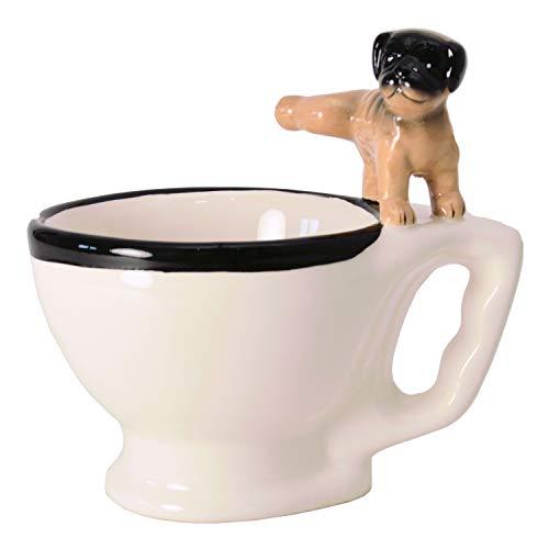 Hund auf Toilette Kaffeebecher - WC-Mops Tasse Kaffeetasse Klo-Hund
