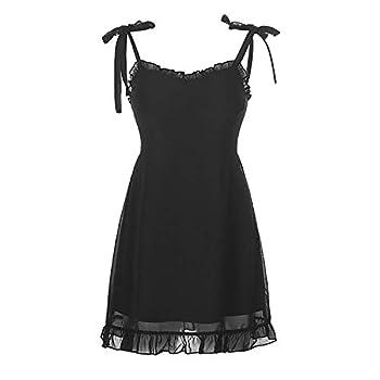 Ho.Volta Goth Dark Sweet Black Summer Mini Dresses Spaghetti Straps Sleeveless Swing Skater Dress Club Party Y2K Streetwear  L l