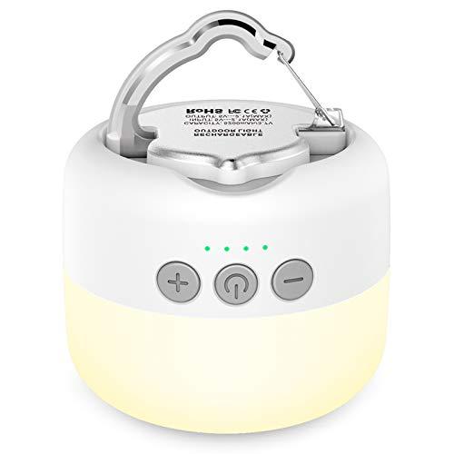 YFW LED Campinglampe, USB Wiederaufladbar Camping Laterne, 3 Helligkeiten Stufenlos Dimmbar, eingebauter starker Magnet mit 5200mAh Power Bank (Lichtzeit 255 Stunden) und SOS Notfall Strobe-Funktion