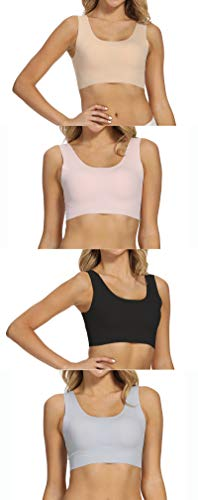 Pack of 4 Women's Seamless Wireless Bralette Lightly Lined Bra with Removable Pad (Black/Nude/Grey/Pink, L)